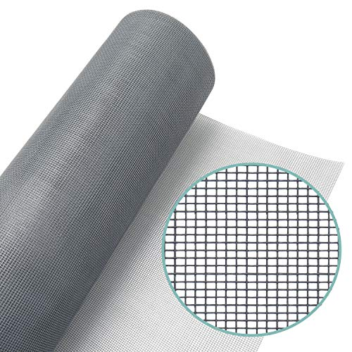 Window Screen Mesh Roll 48in x 100ft - Fiberglass Screen Replacement Mesh for DIY Projects (Grey Mesh)