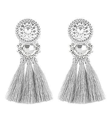 Boderier Bohemian Statement Thread Tassel Chandelier Drop Dangle Earrings with Cassandra Button Stud