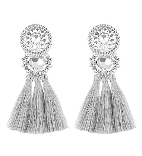 Boderier Bohemian Statement Thread Tassel Chandelier Drop Dangle Earrings with Cassandra Button Stud (Silver)