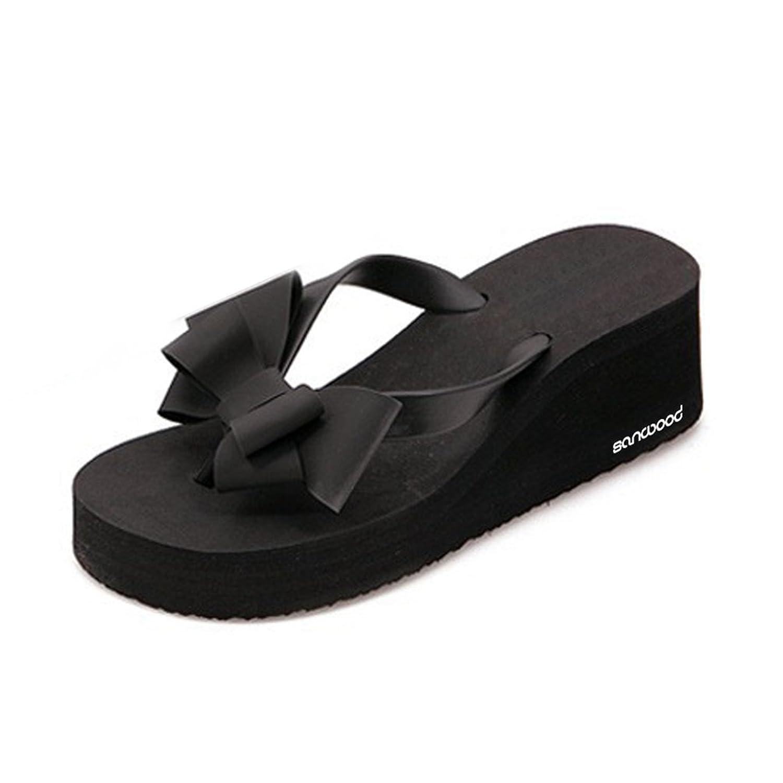 XHCHE Womens Flip Flops Sommer Slipper Fashion Bowknot Strandsandalen Schwarz