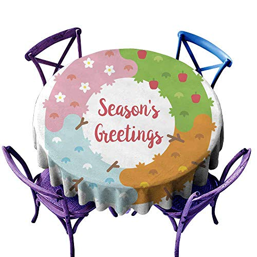 (AFGG Washable Round Tablecloth Flat Design Season s Greetings Card with Wreath High-end Durable Creative Home 40 INCH)