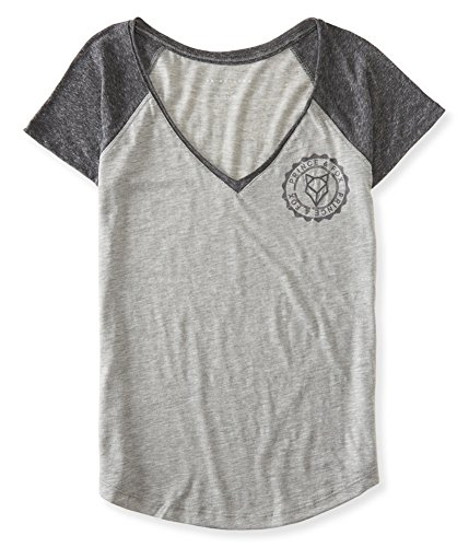 Aeropostale Womens Heathered Raglan Graphic T-Shirt, Grey, Small ()