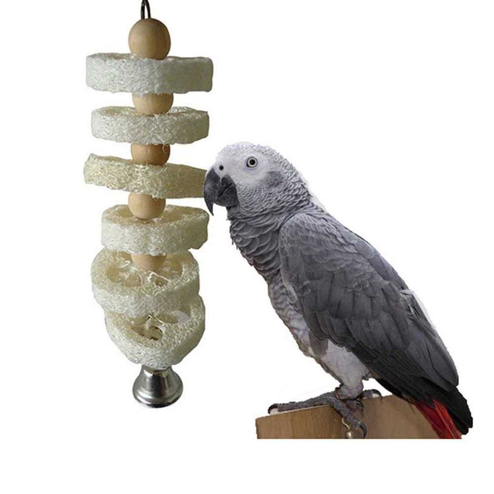 xMxDESiZ Haustier Spielzeug Hohl Luffa Holzperlen Bell Papagei Kauen Biss K/äfig H/ängende V/ögel Holzfarbe