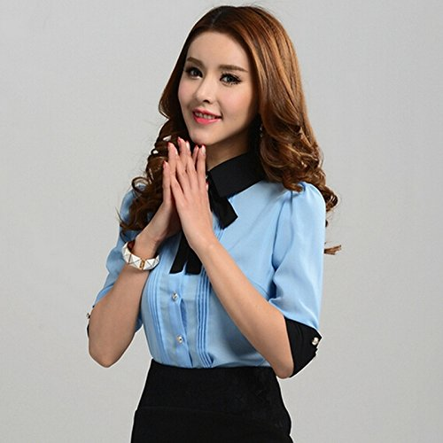 GigaMax(TM) Summer Women Korean Fashion Blouse Shirts Career Office Vintage Half Sleeve Shirt