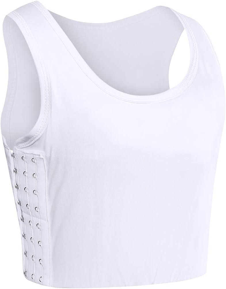 XUJI Women Tomboy Trans Elastic Chest Binder Breathable Cotton Slim Fit Tank Top