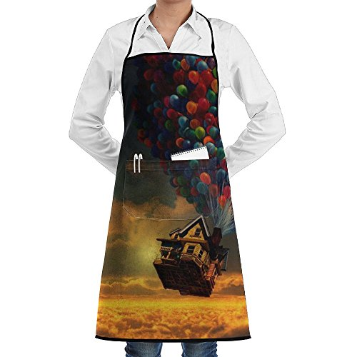 QKGIPD Flying Balloon House Bib Apron With Pockets For Women And Men