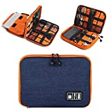 Electronics Travel Organizer, ouble Layer Electronics Organizer Waterproof Travel Cable Storage Bag Compatible Data Cable, Earphones, IPad Mini, USB, Cellphone, Power Bank (Small, Blue and Orange)