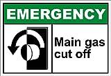 Main Gas Cut Off Emergency OSHA / ANSI LABEL DECAL STICKER Sticks to Any Surface 10x7