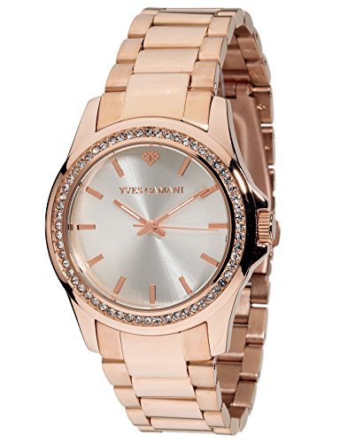 Yves Camani Montpellier Women's Wrist Watch Quartz Analog Stainless Steel Rosegold Silver Dial