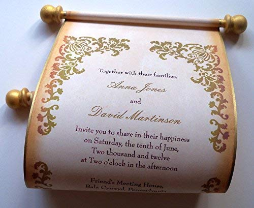 - Castle Wedding Invitation Scrolls in Gold and Brown, 5