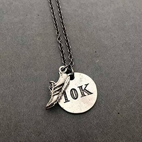 RUN 10K Pewter Necklace - Pewter Running Shoe Charm and Pewter Round 10K Pendant on 18 inch Gunmetal Chain