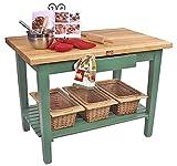 Rectangular Work Table (48 x 24 Basil Green with Shelf)