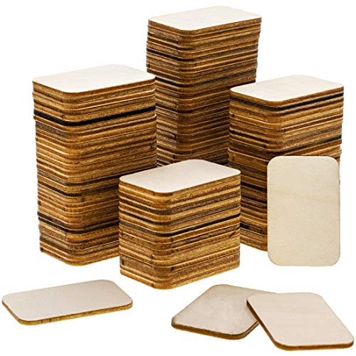 Bright Creations 120-Pack Unfinished Wood Square Cutout Pieces for DIY Crafts, 2 x 1.5 Inches (Best Wood Stain For Plywood)