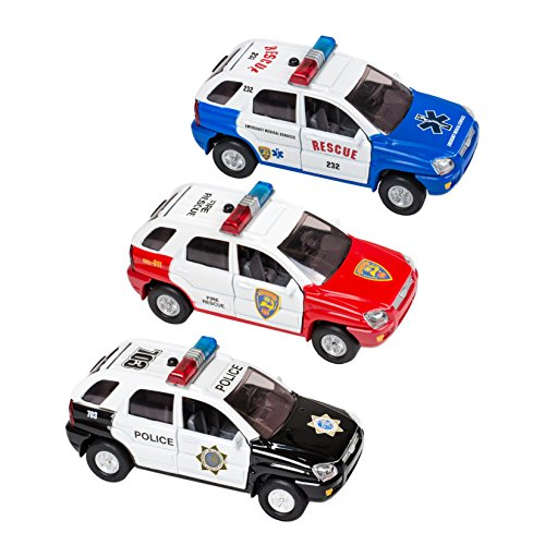 3 Pc Set - Light and Sound SUV Rescue Force Police Fire Medical Toy Cars