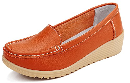 Aisun Women's Comfortable Boat Solid Color Wedge Heel Slip-on Loafers Orange aDqMW0