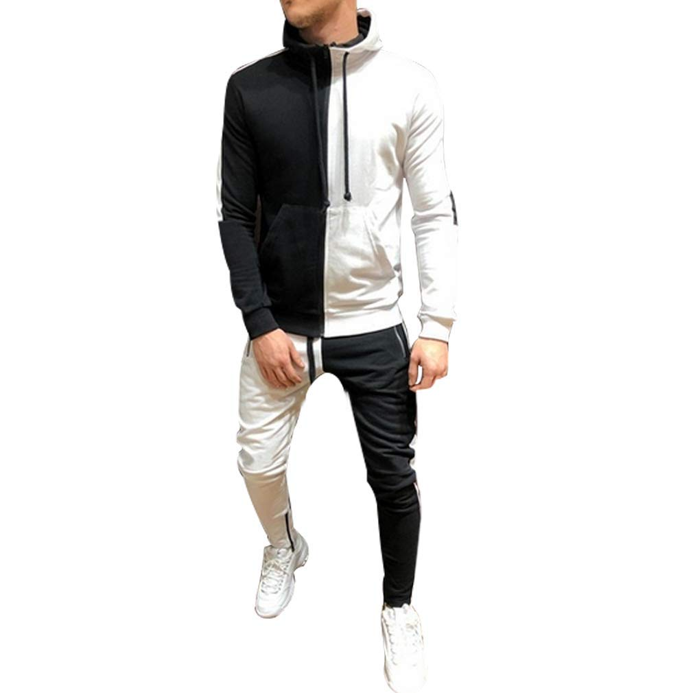 Mens Casual Zipper Hoodie Jackets Joggers Running Pants 2 Pieces Tracksuit Outfit Set