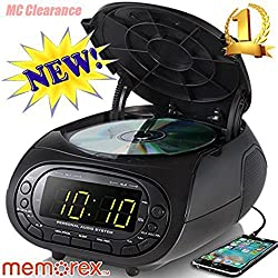 Memorex CD Top Loading Dual Alarm Clock AM/FM Stereo Radio MC7264 with 0.9-Inch Green LED Display and 3.5mm Aux Jack & Headphone Jack input (Black)
