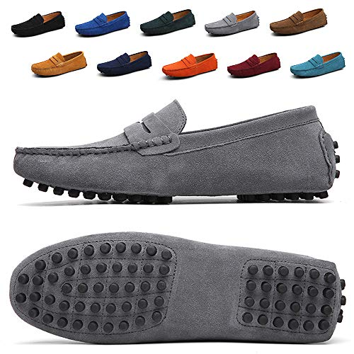 Lightweight Moccasins - TSIODFO Men's Driving Penny Dress Loafers Suede Leather Driver Moccasins Slip On Shoes (2088-Grey-43)