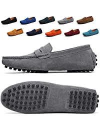 Mens Driving Penny Dress Loafers Suede Leather Driver Moccasins Slip On Shoes