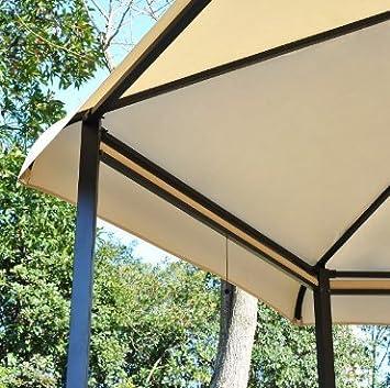 Gazebo 3, 5 x 3, 5 m Hexagonal W/4 neumático de Metal jardín Patio ...