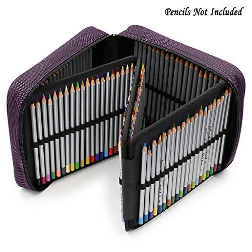 (BTSKY 160 Slots Pencil Case - -Oxford Fabric Pencil Organizer Handy Pencil Wrap Holder for Prismacolor Watercolor Pencils, Crayola Colored Pencils, Marco Raffine Pencils (Purple))