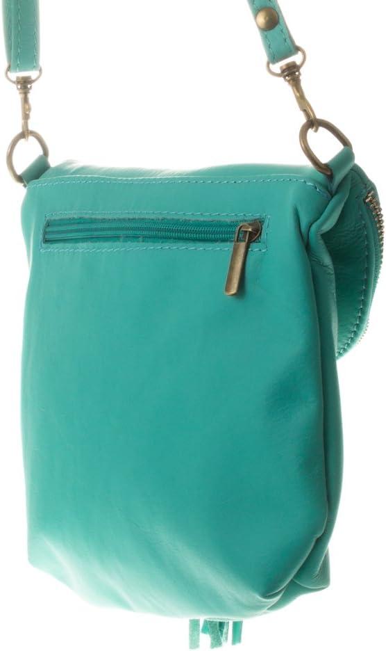 Firenze Artegiani Bolso De Mujer Piel Aut/éntica 23 cm Turquoise Turquesa Acabado Savage Messenger Bag
