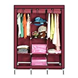 Karp Wardrobe - Multipurpose Portable Non-woven Canvas Folding Fabric Wardrobe With Triple Doors- Wine Red