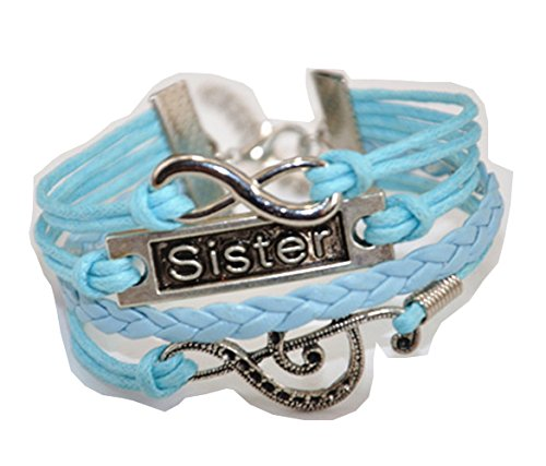 ACUNION™ Handmade Infinity Note Sister Charm Friendship Gift Leather Bracelet – Blue