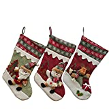 YAMUDA Christmas Stockings, Set of 3pcs Stocking for Kids Gifts, Christmas Eve Hanging, Tree Ornament, Home Decor