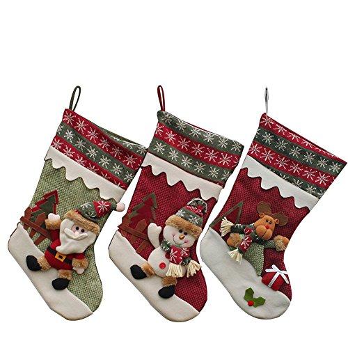 YAMUDA Christmas Stockings, Set of 3pcs Stocking for Kids Gifts, Christmas Eve Hanging, Tree Ornament, Home Decor