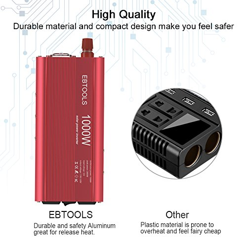 EBTOOLS Car Power Inverter, 1000W/2000W Inverter 12V DC to 110V AC Car Converter with 2 AC Outlets and 2.1A USB port for Laptop, Smartphone, Household Appliances in case Emergency, Storm and Outage by EBTOOLS (Image #6)