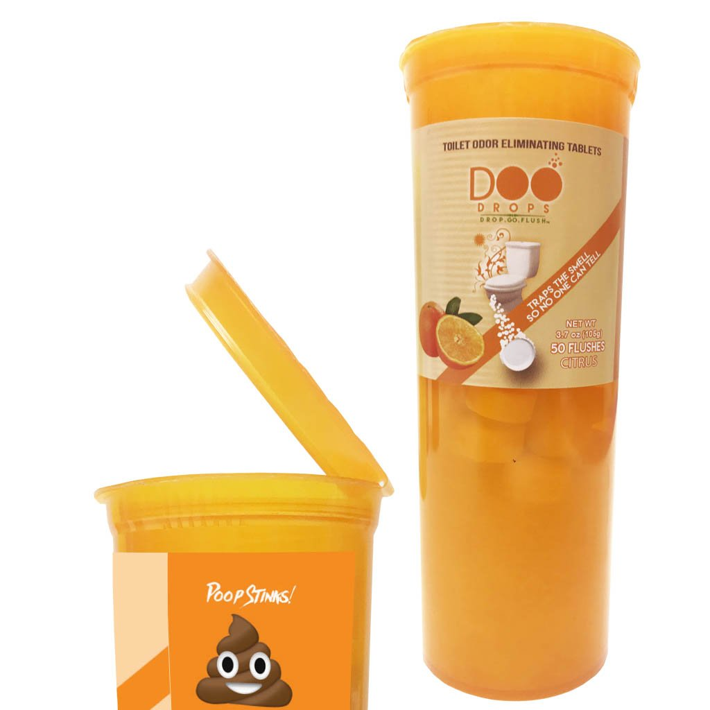 Doo Drops Citrus Poo Odor Eliminator, 50 Tablets with Pop Top- Drop One in Before You GO, No Waiting- For home, office, or travel use