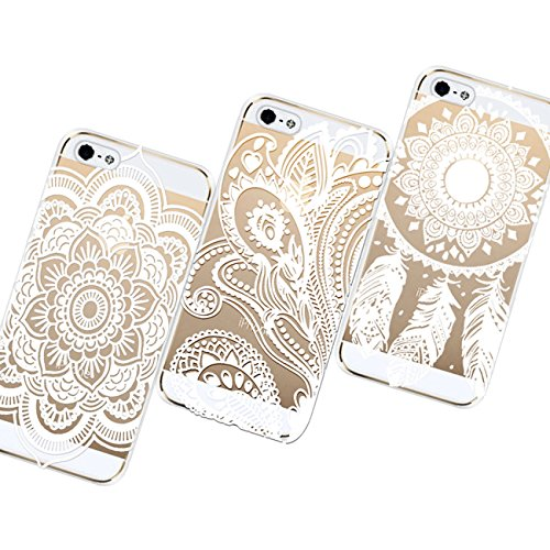 AiGoo Case for iPhone 5/5s,3pc Clear Plastic Hard Case Cover for iPhone 5 5s Henna Ojibwe Dream Catcher Ethnic Tribal Floral Flowers Pattern,With a stylus (For iPhone 5 5s) - Henna Phone Cases Iphone 5s