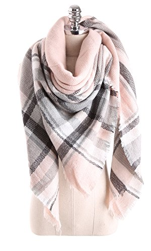 Women Tartan Scarf Stole Plaid Blanket Checked Scarves Wraps Shawl(Plaids Light Light Pink)