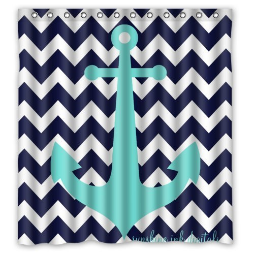 Navy Blue Chevron with Nautical Anchor Waterproof Shower
