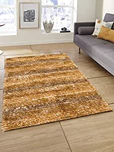 Story at Home Accent Collection Anti Skid Stripes Polyester Soft Shaggy Area Rug Long Lasting Carpet for Bedroom, Living Room, Hall, Brown