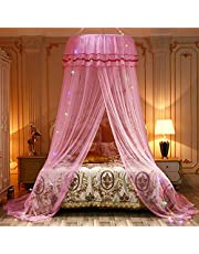 Patgoal Luxury Princess Pastoral Lace Bed Canopy Net Crib, Round Hoop Princess Girl Pastoral Lace Bed Canopy Mosquito Net Fit Crib Twin Full Queen Extra large Bed