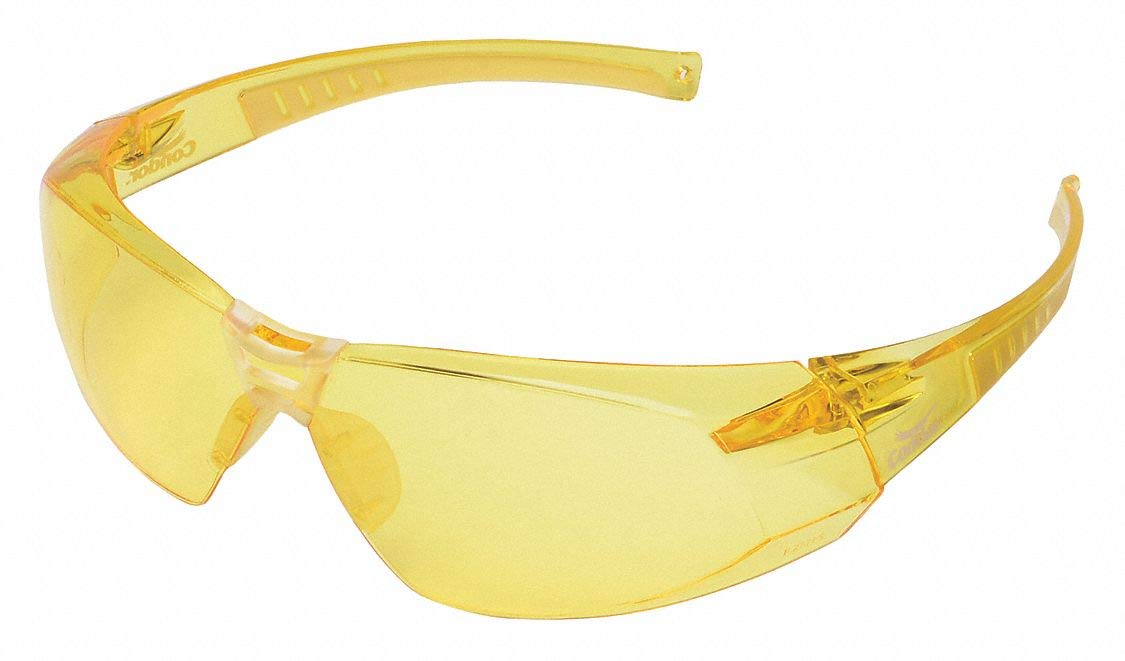 Condor Amber Safety Glasses, Scratch-Resistant, Wraparound