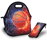 RICHEN Neoprene Lunch Bag with Cutlery Kit Neoprene Case for Knife,Fork,Spoon,Thermal Thick Lunch Tote Bag,Reusable Bags for Adults and Kids,Basketball Design (RLB-02)