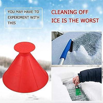 LIKECHEOME Round Ice Scraper Magic Cone-Shaped Car Windshield Ice Scraper, Magic Funnel Car Snow Removal Shovel Tool (Black 2 Pack): Automotive