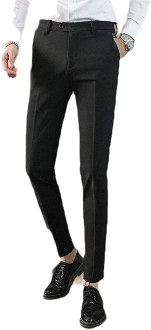 Tootess Men's Business Fit Relaxed Fit Middle Waist Straight Plain Front Pant
