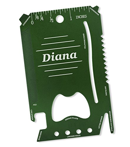 (Dimension 9 Diana - Laser Engraved, Anodized Metal Personalized Wallet Tool)