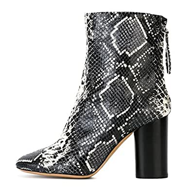 Onlymaker Womens Pointed Toe Chunky Thick Heel Python Print Mid Calf Fashion Boots Black US15