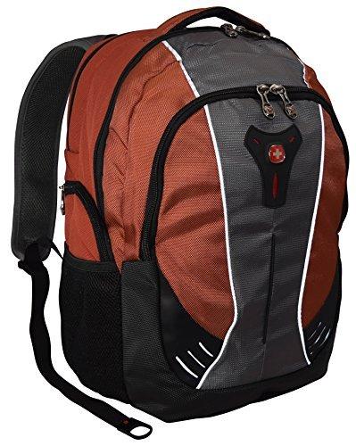 SwissGear® Jupiter 16'' Padded Laptop Backpack/School Travel Bag-Black/Brick Red/Gray by Swiss Gear