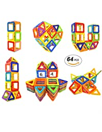 Magnetic Blocks STEM Educational Toys Magnet Building Block Tiles Set for Boys and Girls by Coodoo-64pcs BOBEBE Online Baby Store From New York to Miami and Los Angeles