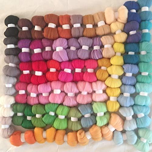 Maslin 5G/Bag 67 Colors 70S DIY Wool for Felting Wool Fiber Set Wool roving in Needles - (Color: 5G 67COLORS)