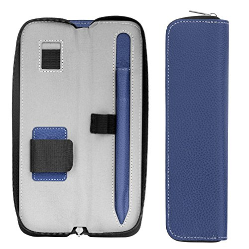 MoKo Holder Case for Apple Pencil/Apple Pencil 2 2018 Release, Premium PU Leather Case Carrying Bag Sleeve Pouch Cover for Apple iPad Pro Pencil/Pen (with Built-in Pocket and Holder), Indigo
