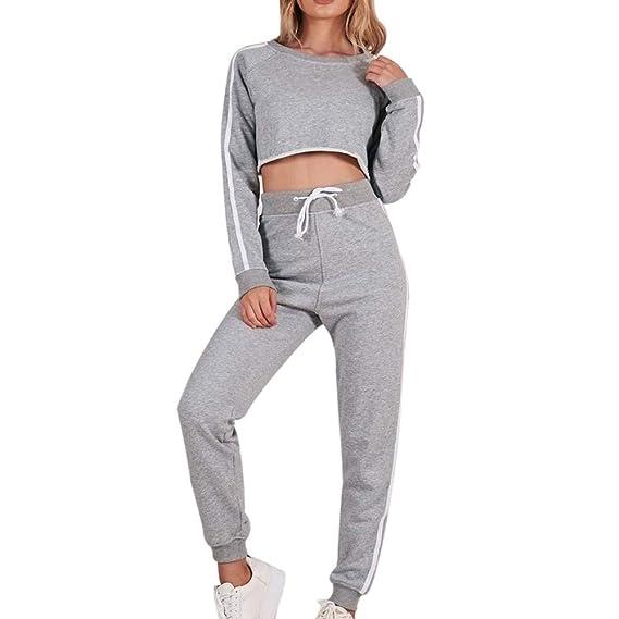 Yesmile Mujer Camisetas❤️Las Mujeres Camisa Las Mujeres de Moda O-Cuello de Manga Larga Pure Color Stripe Tops suéter Pantalones Traje: Amazon.es: Ropa y ...