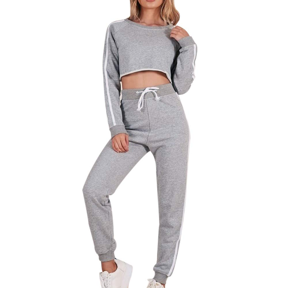 Photno Womens Pullover Sweatshirts Fall Fashion Girl Striped Crop Tops Shirt Blouse Sweater + Trousers Suit