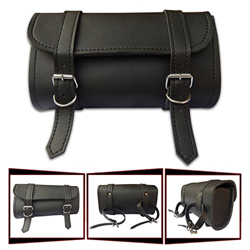 4Fit Motorcycle Front Forks Vintage Style Waterproof Pu Leather Tool Bag ()